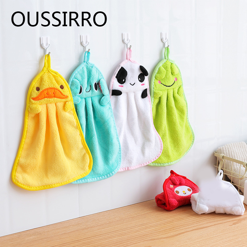 1Pcs Bathroom Baby Nursery Hand Towel Towels Toddler Soft Plush Kitchen Cartoon Animal Wipe Hanging Bathing Towel For Children