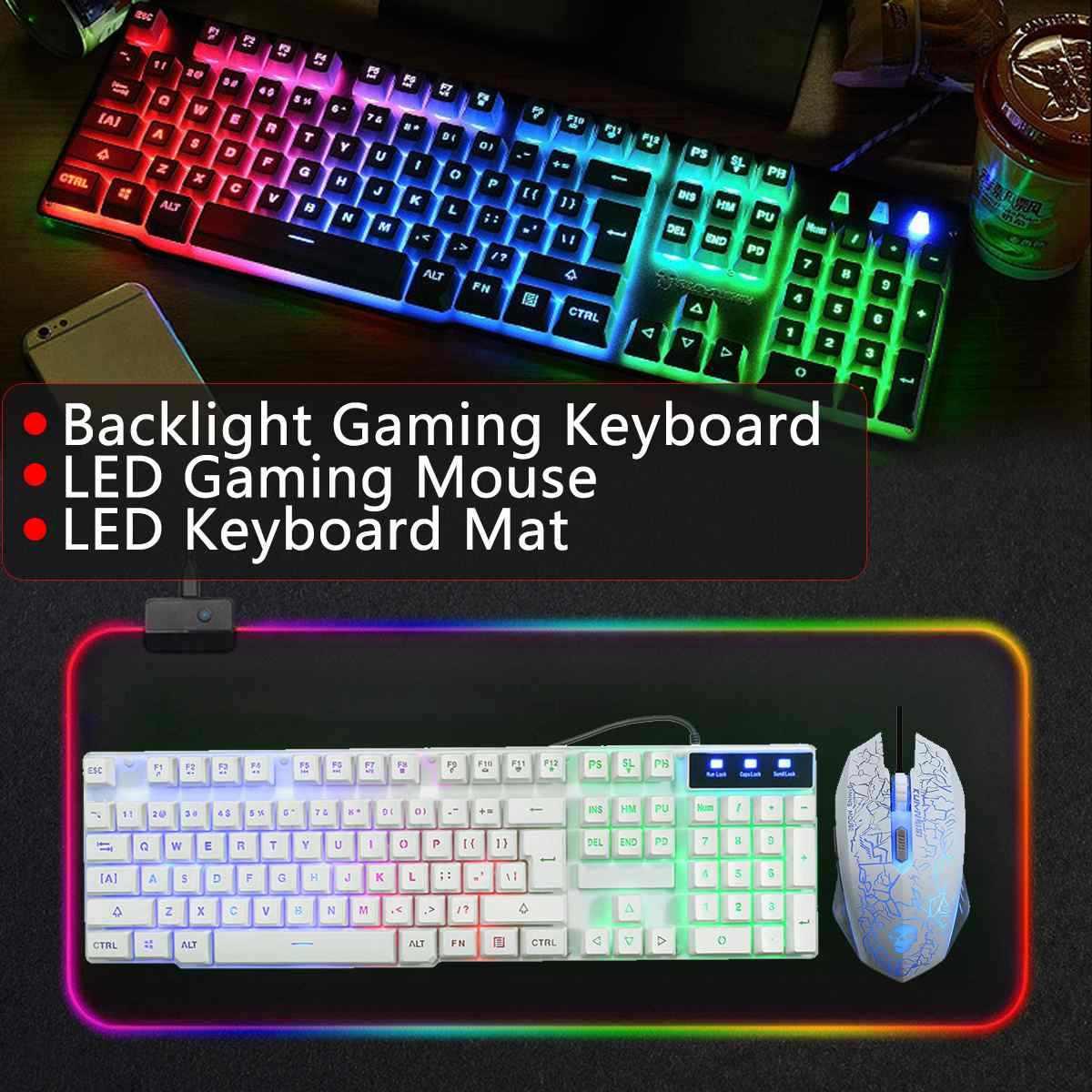 Проводная/Беспроводная игровая клавиатура и мышь Набор Радужная Подсветка USB клавиатура RGB светодиодный коврик для мыши комбо набор для ПК геймера ноутбука