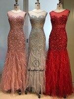 Роскошные Кристалл бисер вечернее длинное платье халат de soiree longue 2019 перо Красный Пром платья для вечеринок