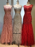 Luxury Crystal Beading Evening Long Dress robe de soiree longue 2019 Feather Red Prom Party Dresses