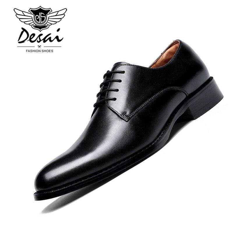 Desai 브랜드 전체 곡물 가죽 비즈니스 남자 드레스 신발 레트로 특허 가죽 옥스포드 신발 남자 크기 eu 38 47-에서포멀 슈즈부터 신발 의  그룹 1