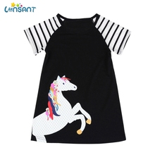 9e34650aee01 LONSANT New Arrival Summer Cute Toddler Kids Baby Girls Black Short Sleeve  Horse Printing Party Dress