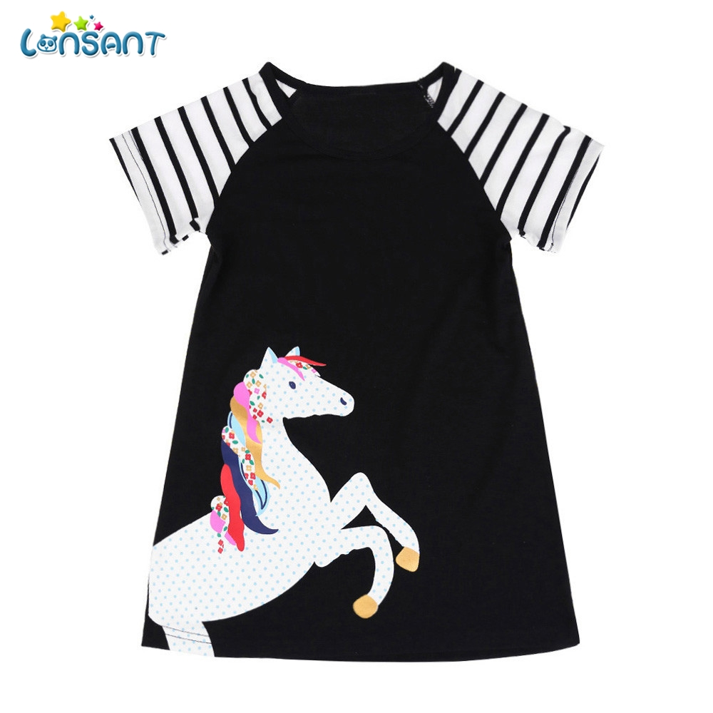 LONSANT New Arrival Summer Cute Toddler Kids Baby Girls Black Short Sleeve Horse Printing Party Dress Outfits Girls Clothes