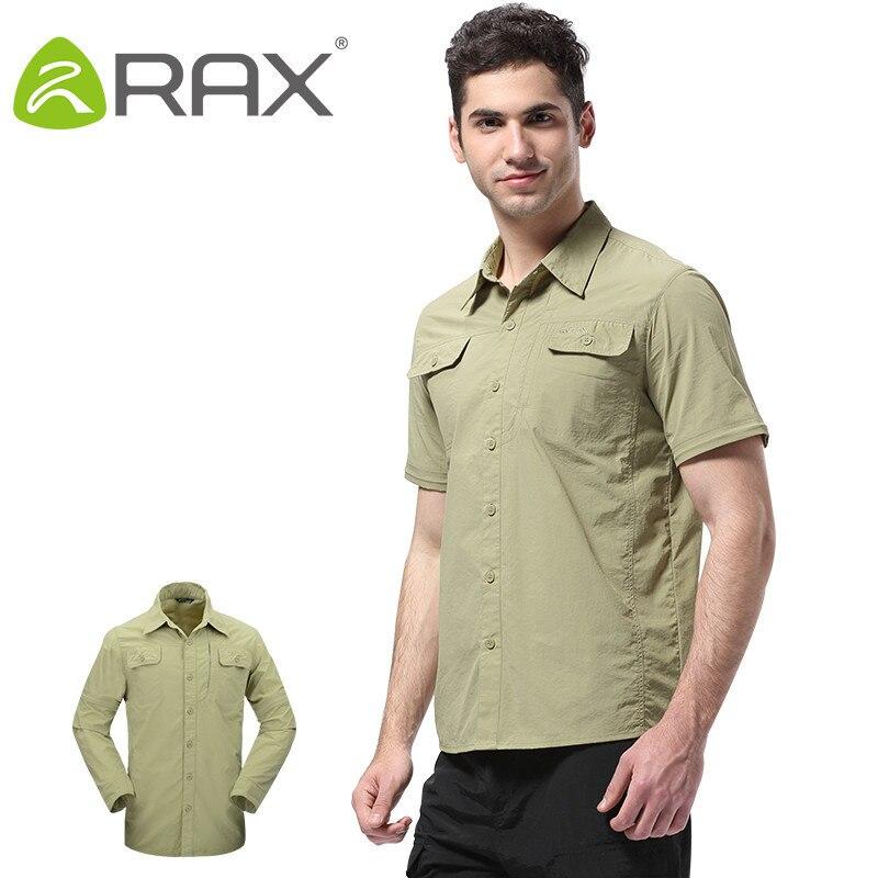 Rax Outdoor Hiking Shirt Men Anti-UV Proof Quick-drying Long Sleeve Short-sleeve 2 in 1 Mens Shirt Camping Trekking Shirts Men