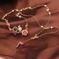 Francês Les Nereides pássaro elegante flor jóia colar filial para as mulheres do partido marca de jóias banhado a ouro