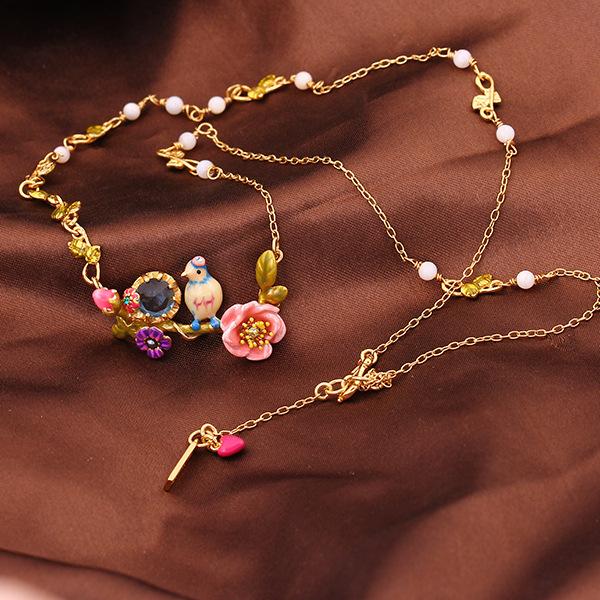 Francesa Les Nereides pájaro elegante gema de la flor rama collar de collar partido mujeres oro plateó la joyería