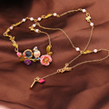 French Les Nereides Elegant Bird Flower Gem Branch Necklace For Women Party Brand Jewelry Gold Plated