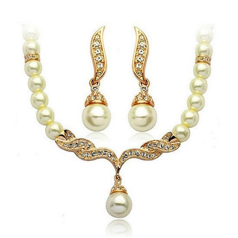 2017 New Elegant Wedding Jewelry sets Imitation Pearl Necklace ...