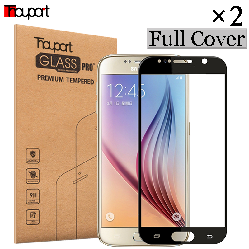 Galleria fotografica Thouport Glass For <font><b>Samsung</b></font> S6 SM- G920F Full Screen Protector For <font><b>Samsung</b></font> <font><b>Galaxy</b></font> S6 Tempered Glass G920 FD Protective Film 2Pcs