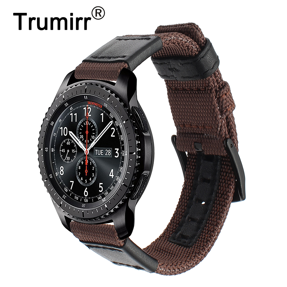 Woven Nylon & Leather Watchband 22mm Quick Release for Samsung Gear S3 Classic Frontier Watch Band Stainless Steel Buckle Strap цена