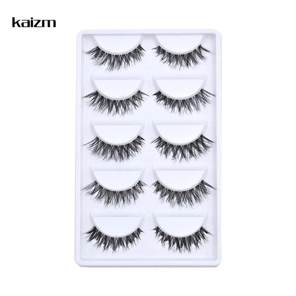 Kaizm 5 Pairs Natural Long Cross False Eyelashes Fake Eye Lashes Extensions cilios postico Makeup Tool HandMade Soft Fake Lashes