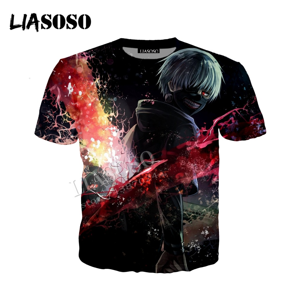 LIASOSO latest 3D printing comfortable polyester zipper hoodie Japanese anime Tokyo ghoul bloody storm men women sportswear C363