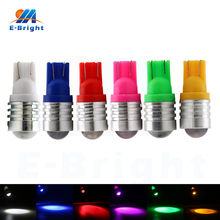 цена на 20pcs 12V T10 1210 1W 1 SMD LED Bulbs License Plate Instrument Reading Clearance Lights 12V White Blue Red Green Free Shipping