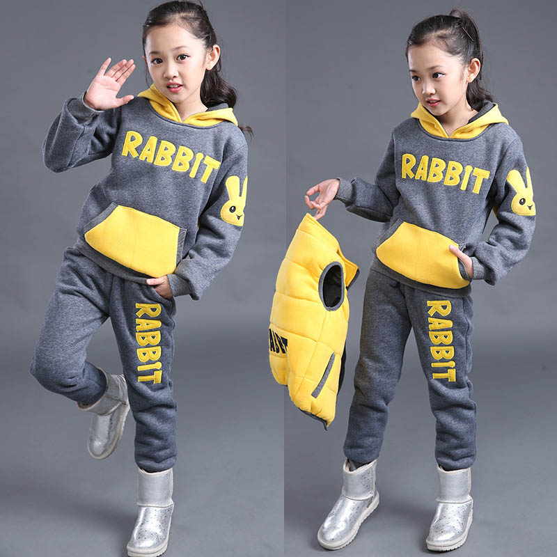 New Girls Winter Set Children's Clothing Child Sports Thick Fleece Hoodies+Pants+Vest 3pcs Sets girl Sweatshirts Casual Suits все цены