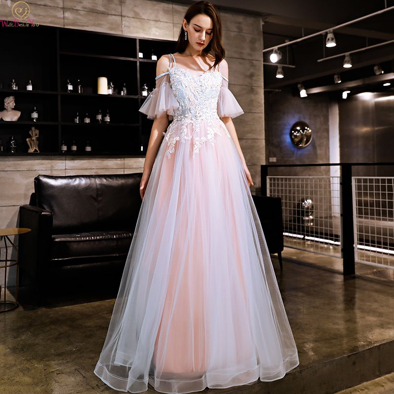 Elegant Pink vestidos de baile A-line Prom Dresses Off Shoulder vestido de noite Long Appliques Peals Crystal Lace Up prom dress