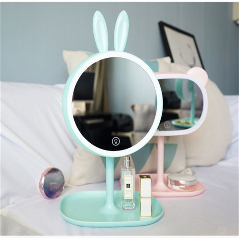 Led Vanity Mirror And Table Lamp Rechargable With 2 Storage Trays And Usb Cable Bathroom Hardware