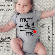 DERMSPE Summer Newborn Infant Baby Clothes Mom Plus Dad Equal Me Funny Cute Toddler Jumpsuits