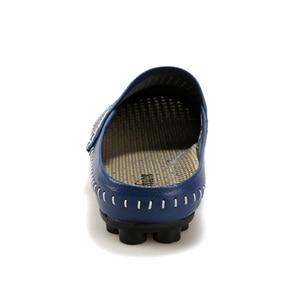 Image 5 - Sanzoog yaz Slip On nefes deri yarım ayakkabı erkekler için rahat slip ons moda düşük Dropshipping tedarikçiler siyah mavi