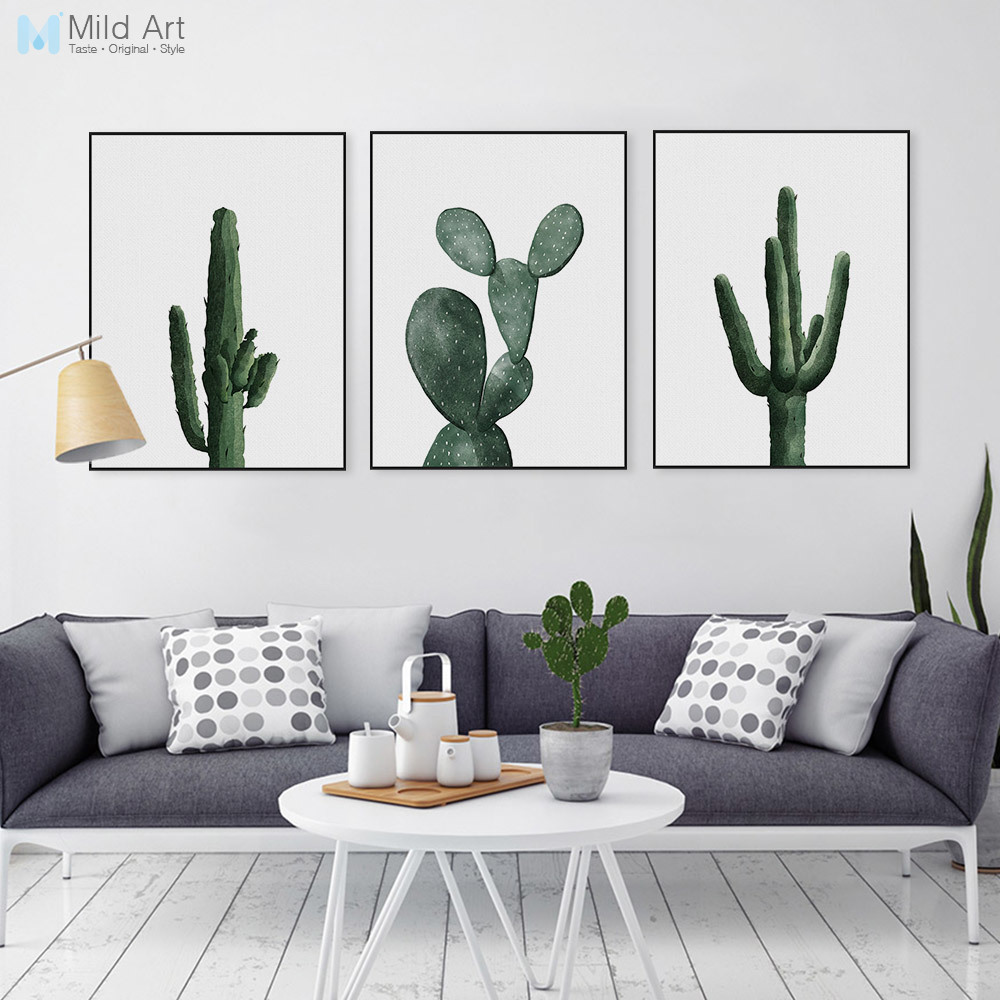nordic watercolor green cactus plant poster print hipster. Black Bedroom Furniture Sets. Home Design Ideas