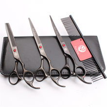 Z3003 4Pcs Set 7'' Black Steel Comb + Cutting Shears + Thinning Scissors +UP Curved Shears Professional Pets Hair Scissors Suit 4pcs suit 7 19 5cm jp kasho professional hair hairdressing scissors comb cutting shears thinning up curved shears h3001