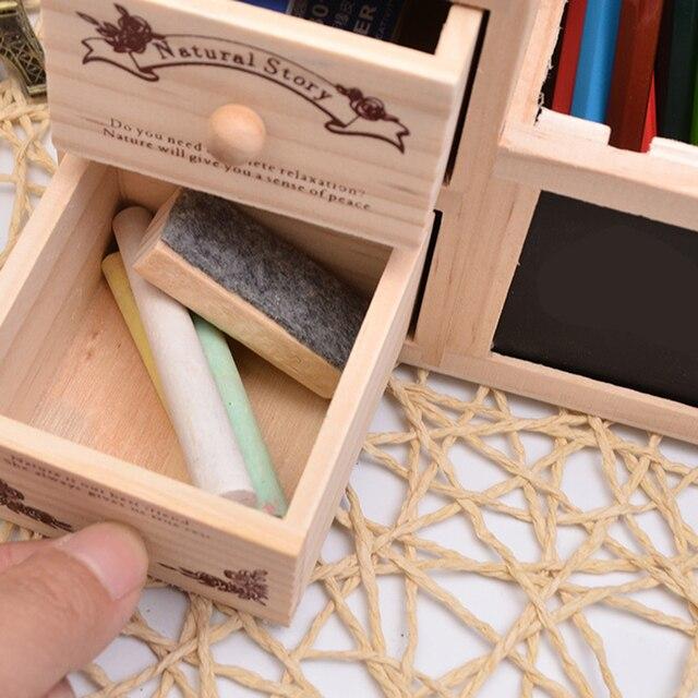 Multifonctionnel En Bois Organisateur De Bureau avec Tiroir Porte-Crayons Tableau Noir Babillard Porte-Plume