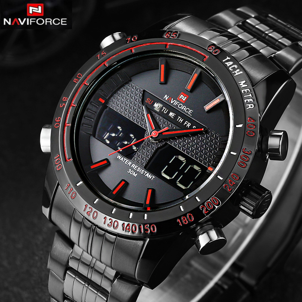 Watches men NAVIFORCE 9024 luxury brand Full Steel Quartz Clock Digital LED Watch Army Military Sport watch relogio masculino naviforce watches men luxury brand quartz watch clock digital led army military sport watch relogio masculino free for regulator