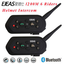 2 pcs EJEAS E6 Multifuncional Motocicleta Intercom VOX BT Headset Capacete Interphone Bluetooth Intercom para 6 Pilotos 1200 M Communica