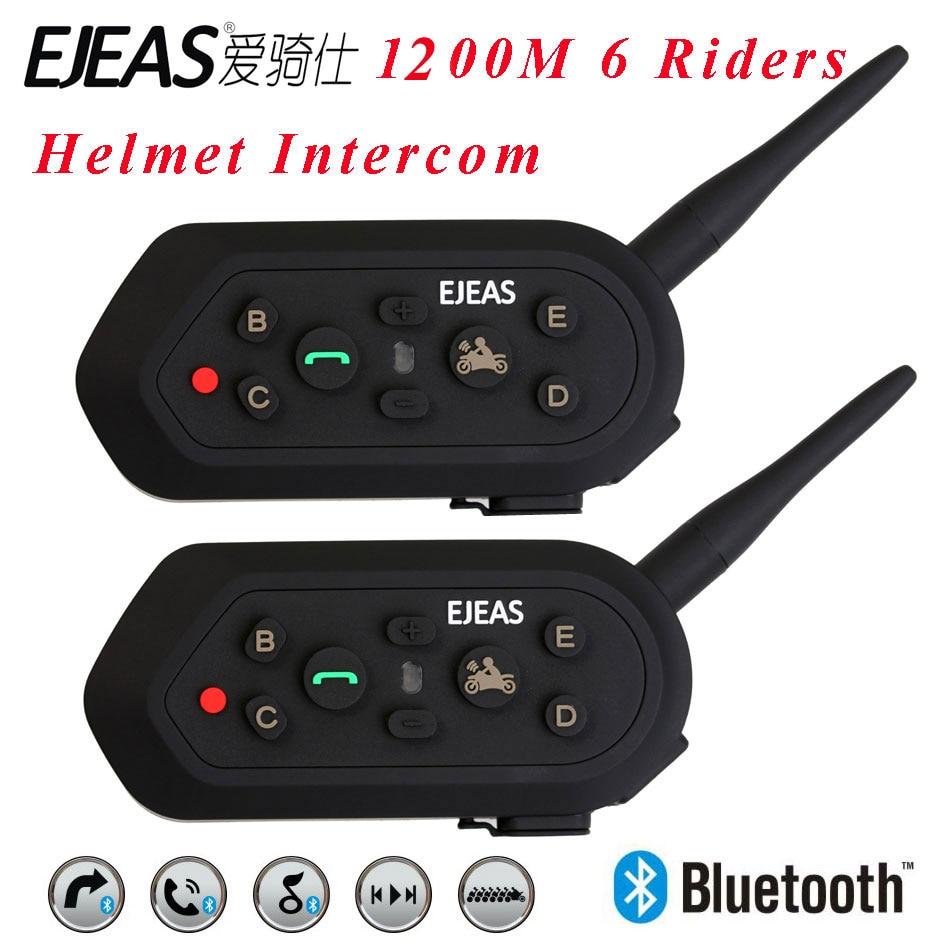 2017 Newest 2 pcs E6 Helmet Intercom 6 Riders 1200M Motorcycle Bluetooth Intercom Headset Walkie Talkie Helmet BT Interphone