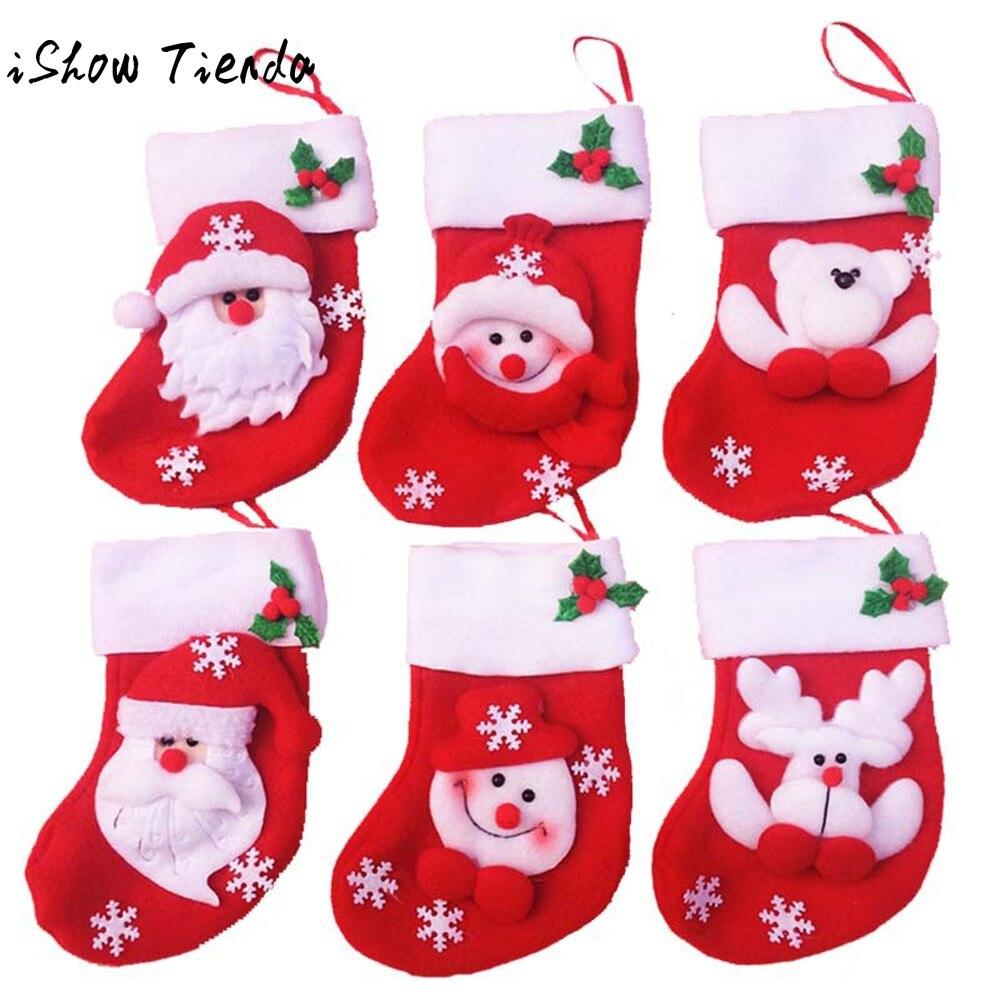 6pcs Christmas Mini Christmas Stockings Socks Decorations Socks Stocking Bag Navidad Decoraciones Para El Hogar Envio Gratis