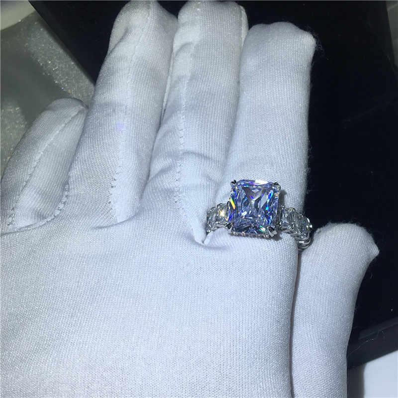 """Vecalon Винтажное кольцо """"Принцесса"""" 925 серебро 6ct кубический цирконий; для помолвки обручальные кольца для мужчин и женщин модные ювелирные изделия"""