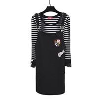 Women Suits Casual Sets Striped T shirt+ Sleevesless Dress 2 piece Strap Dress Sets 2019 Summer Dress Suit Twin Sets Plus Size
