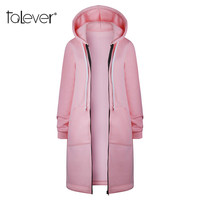 Fashion Women Autumn Office Lady Long Sleeve Casual Hooded Collar Hoodies Zip up Solid Elegant Long Woolen Sweatshirt Talever