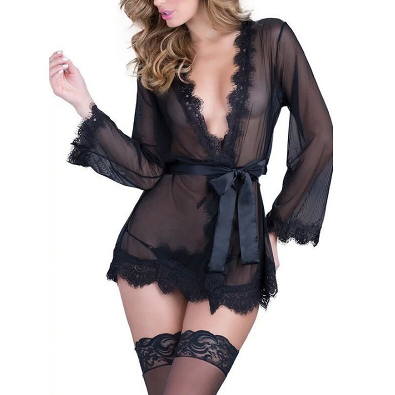Sexy Women Transparent Black Red Lace Nighty Babydoll Erotic Lingerie Sexy Hot Erotic Pajamas Porno Costumes Dress For Sex Famle 2