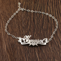 925 Solid Sliver Custom Name Ankle Bracelets for women Foot Jewelry Personalized Heart Shape Name Anklets Bracelet on a Leg