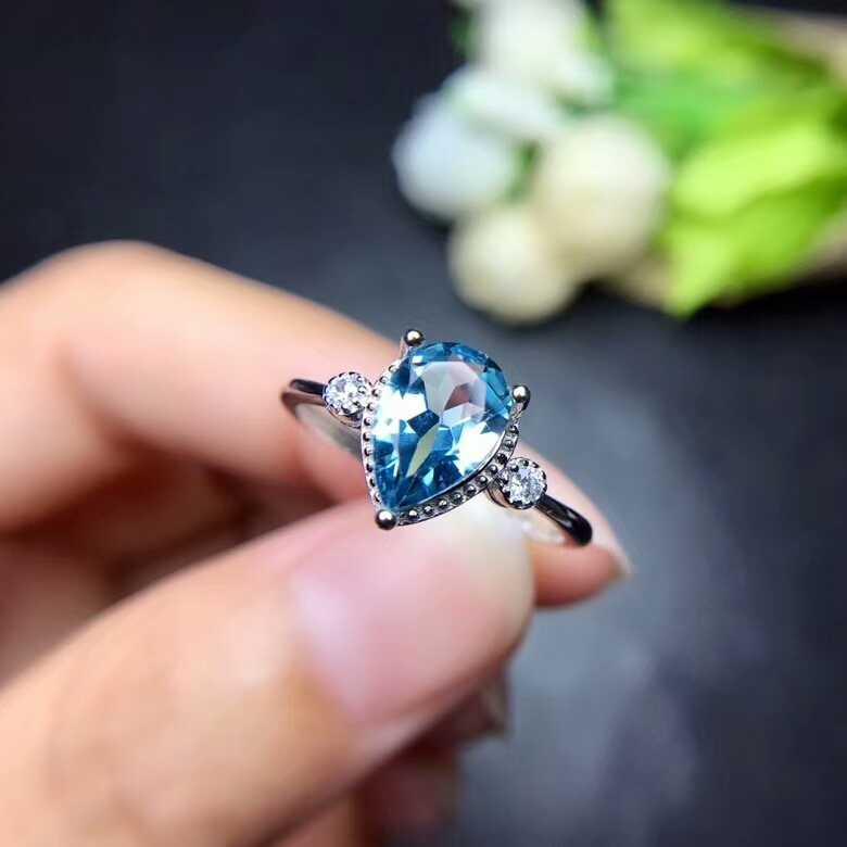 [MeiBaPJ טבעי אור לונדון טופז הכחולה חן טרנדי טבעת עבור נשים אמיתי 925 כסף סטרלינג תכשיטים קסם