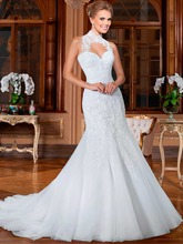 High Neck Sheer Mermaid Wedding Dresses Lace Dress 2015 Hot Sale Sweetangel Robe De Margage Vestido Noiva BW-17