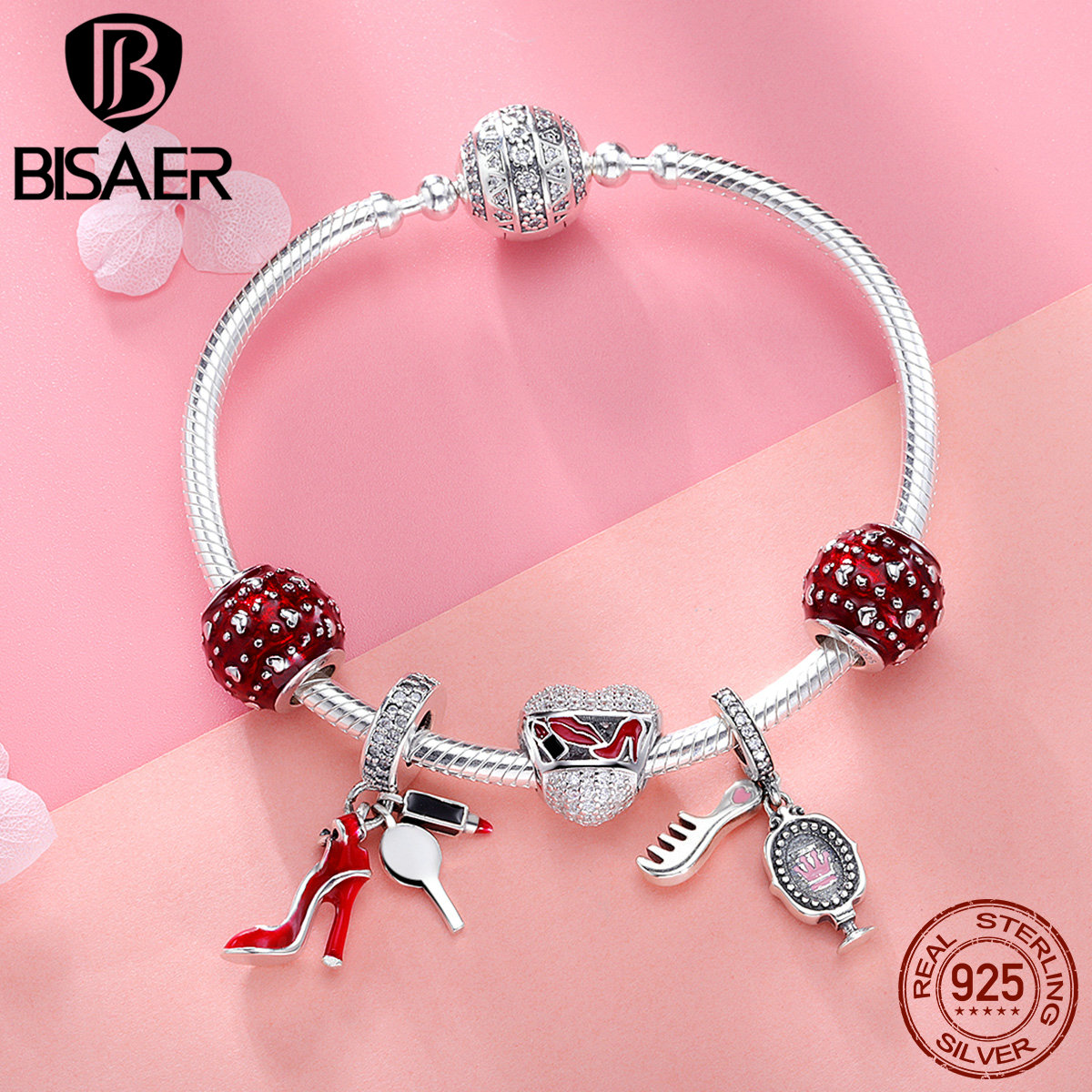 BISAER Authentic 925 Sterling Silver Red High Heels Pendant With Heart Beads Brand Silver Charm Bracelet For Women Gift GXB802 bisaer 7pcs 925 sterling silver heart key and locket heart pendant brand charm bracelet for women wedding silver bangle gxb811