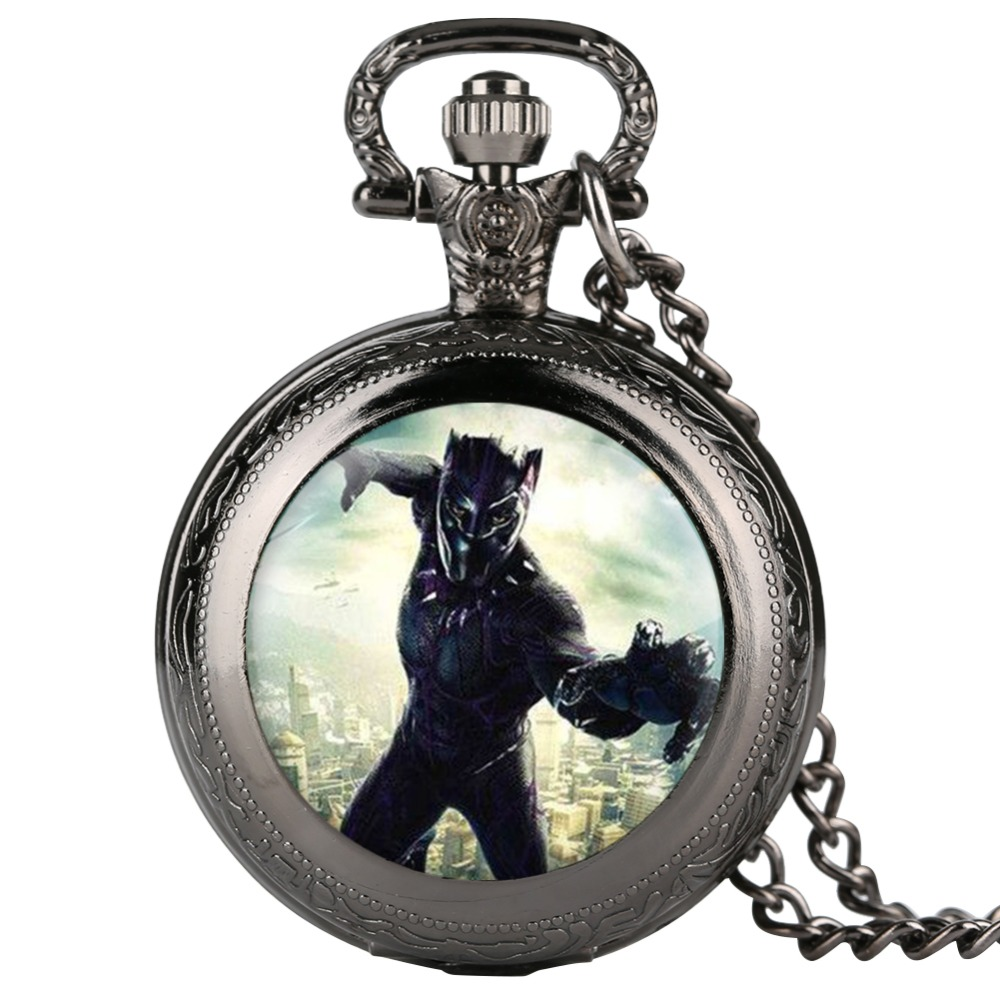 Cool Black Panther Quartz Pocket Watch Men Vintage Fob Women Watches With Necklace Pendant Clock Gifts For Children Boys