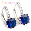 Yunkingdom white gold plated hoop earrings for women rhinestone crystal hoop earrings female
