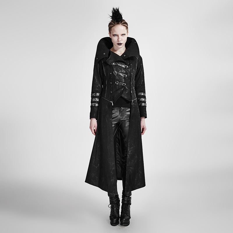 Steampunk Black Gothic Winter High Collar Women Long Coats Punk Leather Jacket Twill Fabric Overcoat with