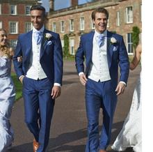 (Jacket+Vest+Pants) Wedding Groom Slim Fit Blue Mens Suit Wedding Suits For Men formal occasion wedding suit