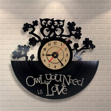Antique Vintage Retro Clock Creative Owl Shape Vinyl Wall Clock Large Decorative Wall Mounted Clocks Horloge