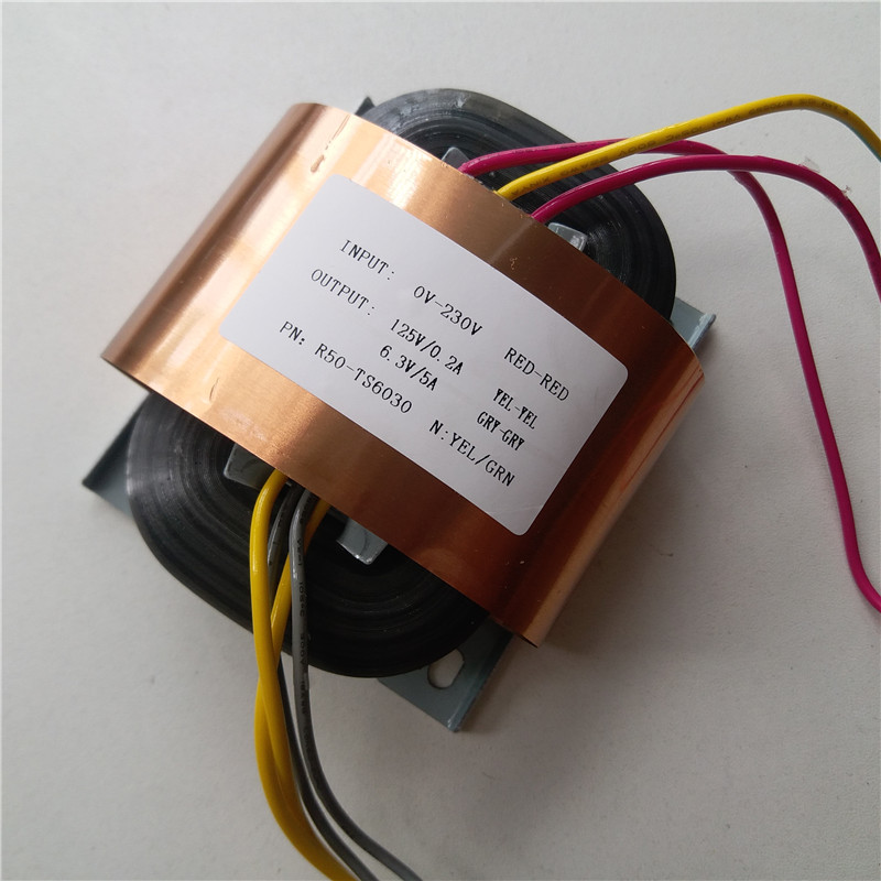 125V 0.2A 6.3V 5A R Core Transformer 56VA R50 custom transformer 230V with copper shield Pre-decoder Power amplifier125V 0.2A 6.3V 5A R Core Transformer 56VA R50 custom transformer 230V with copper shield Pre-decoder Power amplifier