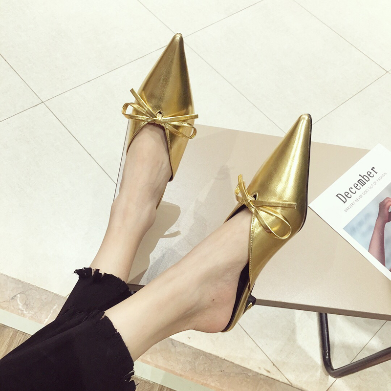 24d8ce86e9e Boussac Sexy Pointed Toe Women Pumps Bowtie Kitten Heel Metal Gold Women  Mules V neck Elegant Ladies Office Shoes SWB0118-in Women s Pumps from Shoes  on ...