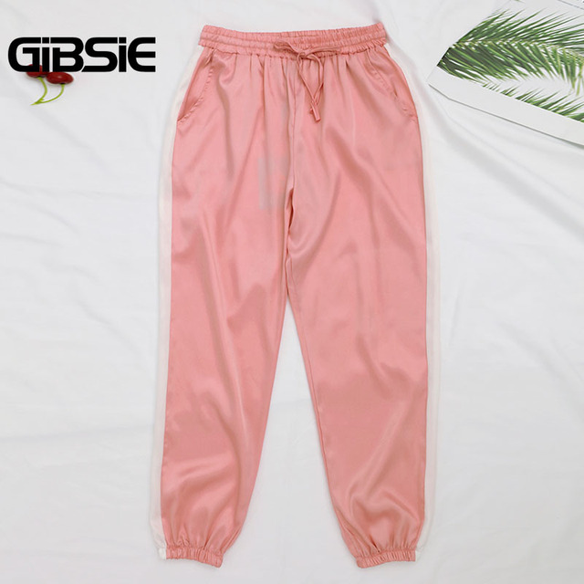 GIBSIE Plus Size Women Clothing 5XL 4XL 3XL Summer Color Block Satin Trousers Women Sweatpants Casual High Waist Harem Pants