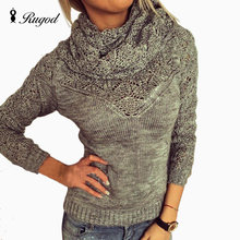 RUGOD 2018 Wanita Musim Semi Musim Gugur Tarik Femme Sweater Manche Longue Femme Gilet Poncho Turtleneck Sweater dan Syal 2 Pieces Set(China)