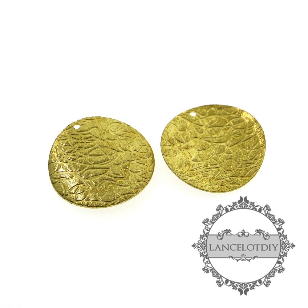 20mm en laiton brut vintage style fleur gravé plaque ronde pour bricolage pendentif charme bijoux fournitures 1800318