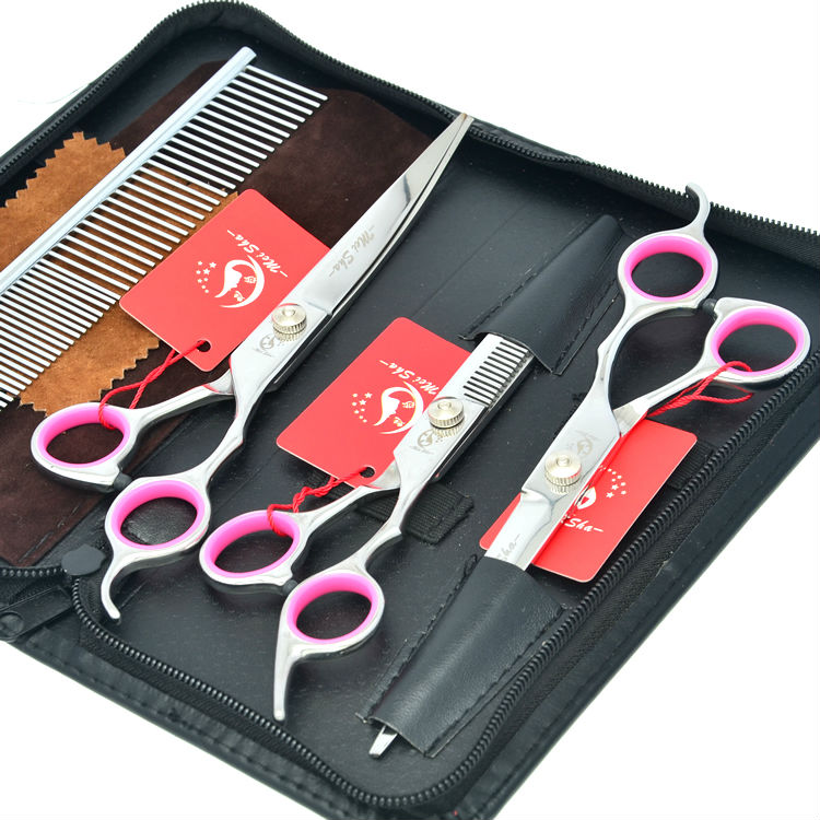 Meisha JP440C Dog Grooming Shears 7 Straight Curved Cutting Scissors 6 5 Thinning Scissors Pet Clippers
