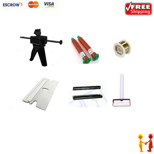 Free shipping !! separate Machine repair kit, UV Loca glue, glue gun and roller,blader and cutting wire  цены