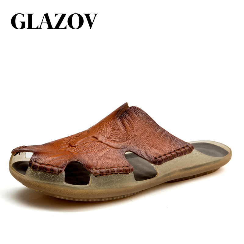 GLAZOV 2019 New Fashion Summer Shoes Men's Slippers Genuine Leather Beach Sandals Men Casual Shoes Flip Flops Big Size 38~46